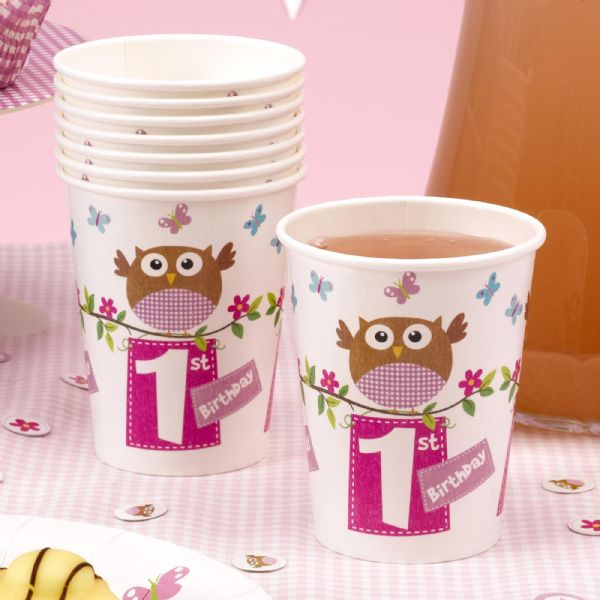 Little Owls Pink 1st Birthday Cups (8)